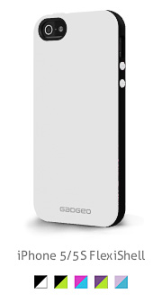 Gadgeo product photo of an iPhone 5 slim TPU white and black case cover